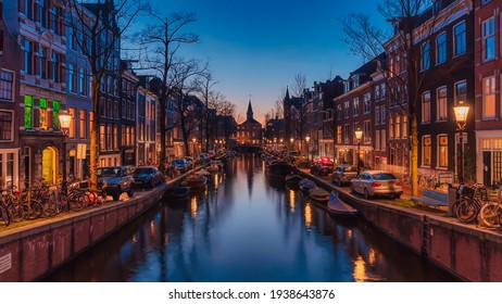 Amazing colorful cityscape of Amsterdam. Photo taken 23.04.2020 in Amsterdam, Netherlands
