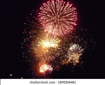 Amazing colorful fireworks in dark sky