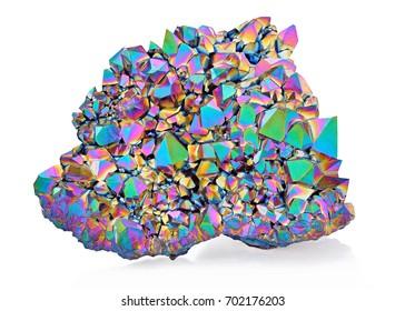 Amazing colorful flashing Amethyst Quartz Rainbow Titanium Aura crystal cluster closeup isolated on white background. Macro of beautiful rare sparkly rainbow mineral stone