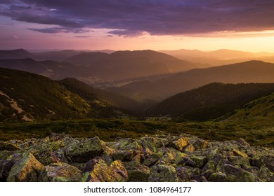 amazing colorful morning dawn landscape in the mountains, stones on the hill of mountain, amazing summer landscape, wallpaper sunrise landscape, Europe, Ukraine, Carpathians image