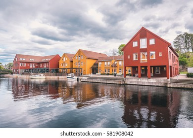 Amazing colorful Nordic Wooden architecture and scandinavian design in the old part of Kristiansand, Norway