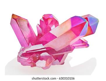 Amazing colorful Quartz Pink Titanium aura crystal cluster on white background, Angel aura mineral