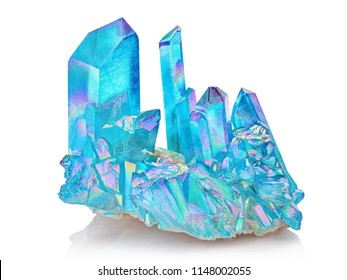 Amazing colorful Quartz Rainbow Flame Blue Aqua Aura crystal cluster closeup macro isolated on white background