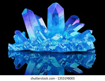 Amazing colorful Quartz Rainbow Flame Blue Aqua Aura crystal cluster closeup macro isolated on black background