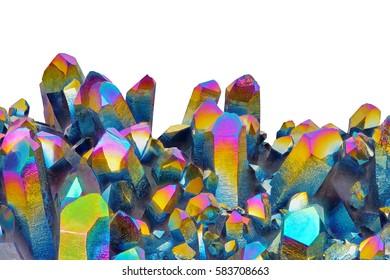 Amazing colorful Quartz Rainbow Flame Titanium aura crystal cluster isolated on white background