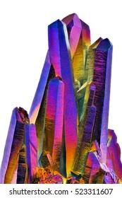 Amazing colorful Quartz Rainbow Titanium aura crystal cluster on white background