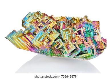 Amazing colorful rainbow Bismuth Gemstone macro closeup isolated on white background