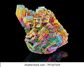 Amazing colorful rainbow Bismuth Gemstone mineral macro closeup isolated on black background
