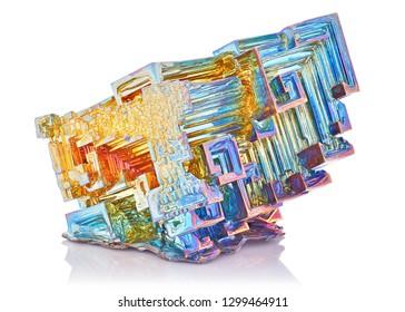 Amazing colorful rainbow blue gold Bismuth Gemstone macro closeup isolated on white background