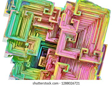 Amazing colorful red green rainbow Bismuth Gemstone Crystals macro closeup texture as background