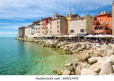 Amazing colorful Rovinj seen from the harbor, Croatia