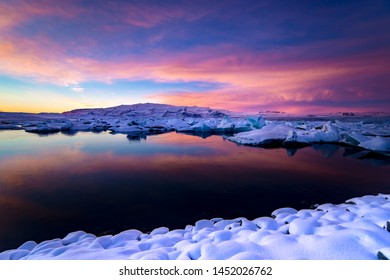 Amazing colorful sky in Iceland Glacier Lagoon arctic conditions Jokulsarlon Iceland