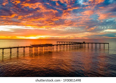 Amazing colorful sunset over the Ocean Beach Fishing Pier
