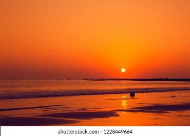 Amazing colorful sunset at sea