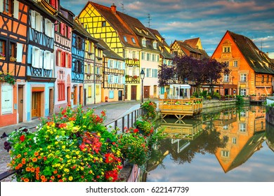 Amazing colorful traditional french houses on the side of river Lauch in Petite Venise, Colmar, France, Europe