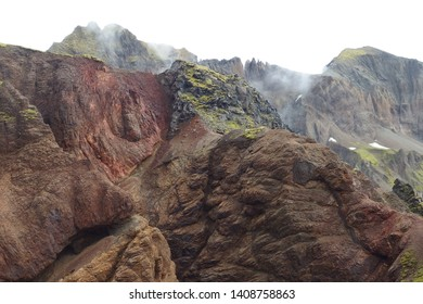Amazing colorful volcanic rocks in National Park Skaftafell in South Iceland