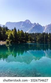 Amazing colors of alpine lakes Fusine park. Tarvisio (Udine) Friuli Venezia Giulia, Italy