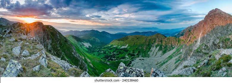 Amazing colors during sunset in Low Tatras, Dumbier and Chopok peak, anoramic ultra wide view