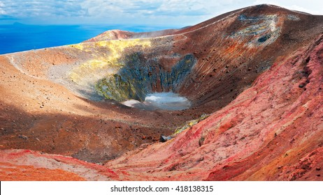 Amazing crater of volcano in Vulcano Island, vivid and colorful, Sicily - Italy.