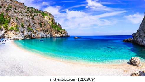 Amazing crustal clear sea of Karpathos island. Beautiful Kyra panagia beach. Greece