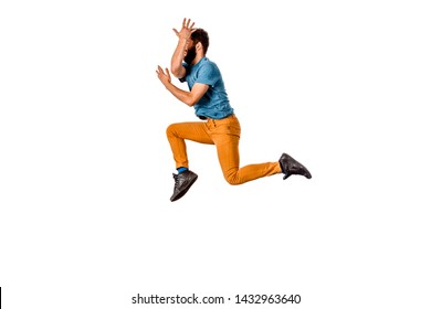 Amazing dancer is doing breakdance on a white background
