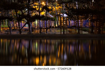 Amazing dark night park view with small houses, ladders, roads and steps. Colorful lights are reflected in water.