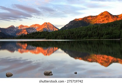 Amazing dawn reflection in the Utah mountains, USA.