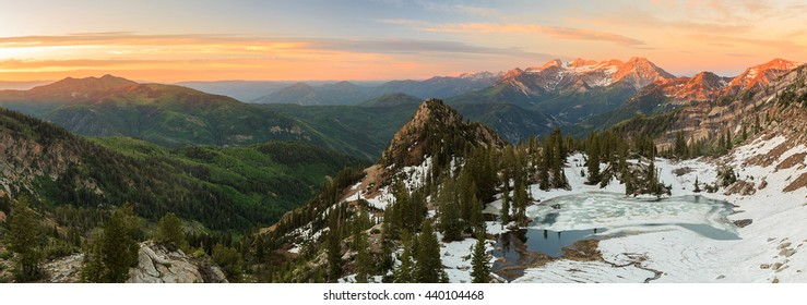 Amazing dawn sunrise panorama in the Southern Wasatch Mountains, Utah, USA.