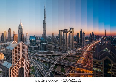 Amazing Day to Night sliced aerial photo of Dubai Downtown Cityscape. Beautiful Futuristic City Concept. Modern Skyscrapers of UAE. Luxury real estate