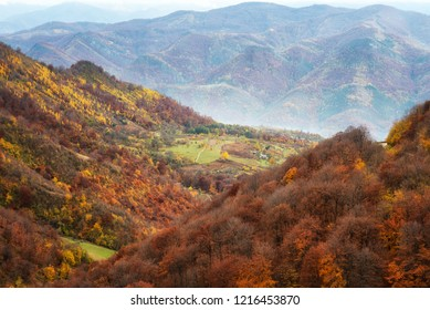 Amazing day view with a sun-drenched little village in Balkan Mountains, Bulgaria