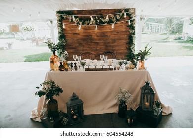 Amazing decor in eco style on the summer wedding