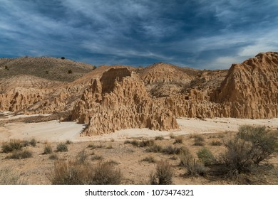 Amazing desert view of the bentonite clay formations in Cathedral Gorge State Park in Nevada, USA.