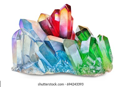 Amazing detailed closeup of colorful Rainbow Aura Quartz Crystal coated cluster on white background. Macro of beautiful rare multicolor mineral stone