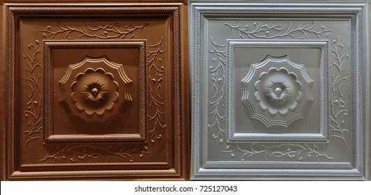 amazing detailed closeup view of dark brown, silver color interior decorative ceiling tiles luxury background