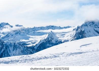 Amazing Dollomites Mountains at Canazei ski resort,Italy
