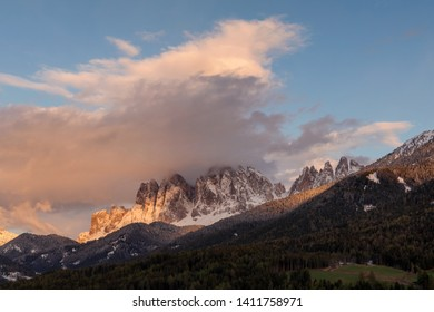 Amazing Dolomites Mountains Landscape during sunset. Wonderful picturesque Scene. Val di Funes. Italy.