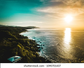amazing drone shot from Montezuma , Costa rica