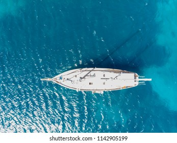 Amazing drone shots sailing boat and yatchs at sunny summer day in bodrum turkey