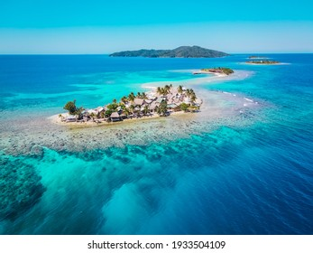 Amazing drone view of the beach and water with beautiful colors