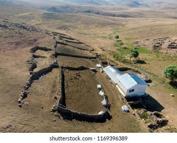 Amazing drone views authentic village life in Sivas Turkey