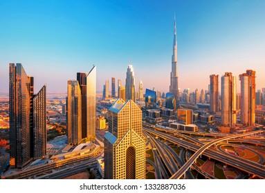 Amazing Dubai city cnter skyline at the sunset, Dubai, United Arab Emirates