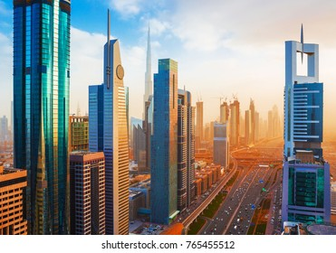 Amazing Dubai downtown skyscrapers and Sheikh Zayed road, United Arab Emirates