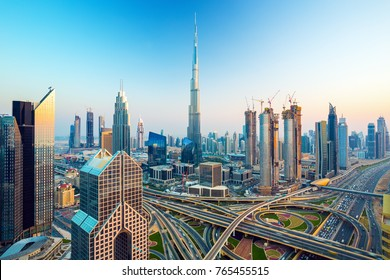 Amazing Dubai skyline with luxury city center, Dubai, United Arab Emirates