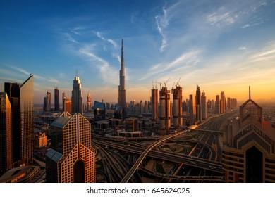 Amazing Dubai skyline at sunset