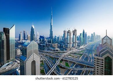 Amazing Dubai skyline at the sunset,Dubai,United Arab Emirates