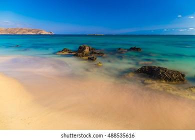 Amazing Elafonisi beach, Chania prefecture, South of Crete island, Greece