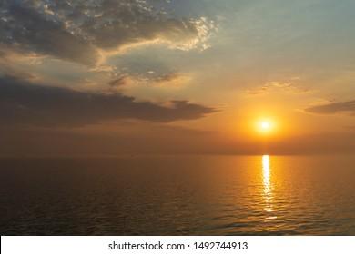 An amazing epic sunrise comes in sight over the Marmara Sea / Turkey. Sunrise at the Marmara Sea.