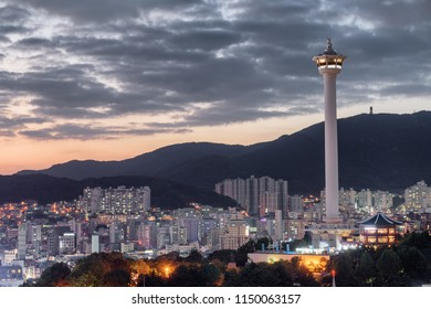 Amazing evening view of Busan Tower at sunset in Busan, South Korea. Beautiful cityscape.