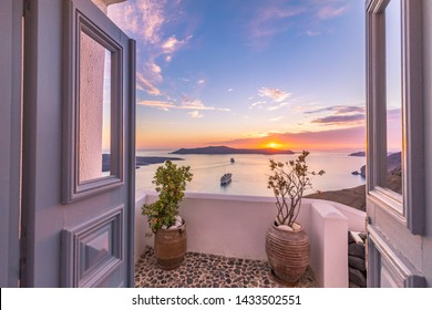 Amazing evening view of Fira, caldera, volcano of Santorini, Greece with cruise ships at sunset. Cloudy dramatic sky. Tranquil and inspirational summer vacation scenery, beautiful sea view