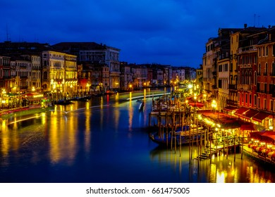 Amazing evening view of Grand canal and Gondola from Rialto bridge, Venice Italy